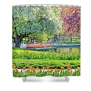Swans And Tulips 1 Shower Curtain