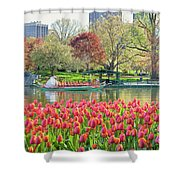 Swans And Tulips 2 Shower Curtain