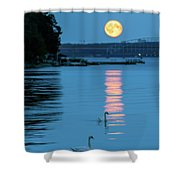 Swans Gliding Into The Moonlight During A Moonrise In Stockholm Shower Curtain