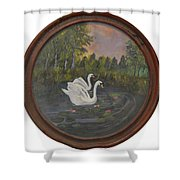 Swans On Lake Shower Curtain