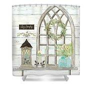 Sweet Life Farmhouse 3 Gothic Window Lantern Floral Shiplap Wood Shower Curtain