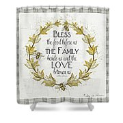 Sweet Life Farmhouse 4 Laurel Leaf Wreath Bee Bless This Food Shower Curtain