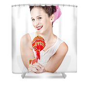 Sweet Lolly Shop Lady Offering Over Red Lollipop Shower Curtain