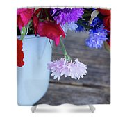 Sweet Pea And Corn Flowers Shower Curtain