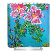 Sweet Pea Flowers On A Vine Shower Curtain