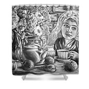 Sweet Tea And Sweet Dreams Black And White Shower Curtain
