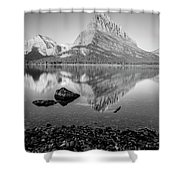Swift Current Lake Reflection Black And White  Shower Curtain