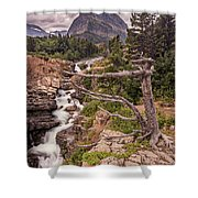 Swiftcurrent Lake Falls Shower Curtain