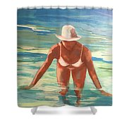 Swimmer In Blue Shower Curtain