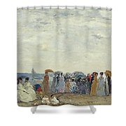 Swimmers On Trouville Beach Shower Curtain