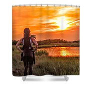 Swimmers Sunset Shower Curtain