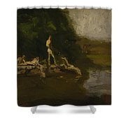 Swimming Hole Sketch Shower Curtain