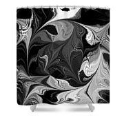 Swimming In Black And White - Abstract Shower Curtain