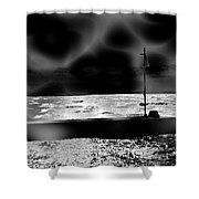 Swimming In The Storm. Shower Curtain