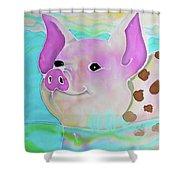 Swimming Piggy Shower Curtain