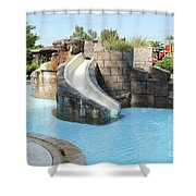 Swimming Pool With Slide For Children Shower Curtain