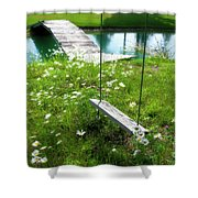 Swing In The Daisies With Bridge Shower Curtain