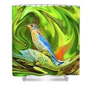 Swirling Bluebird Abstract Shower Curtain