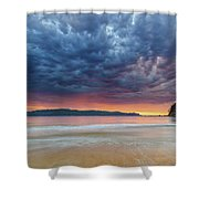 Swirling Cloudy Sunrise Seascape Shower Curtain