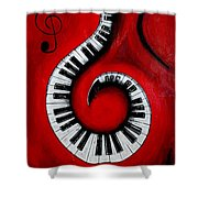 Swirling Piano Keys- Music In Motion Shower Curtain