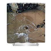 Swirling Surf And Rocks Shower Curtain by Charlene Mitchell