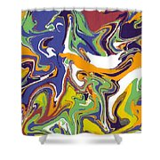 Swirls Drip Art Shower Curtain