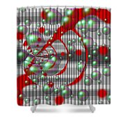 Swirly Red With Bubbles Shower Curtain