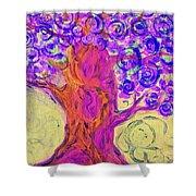 Swirly Tree Shower Curtain
