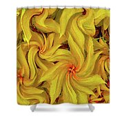 Swirly, Yellow Leaves Shower Curtain