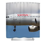Swiss Airlines Airbus A320 Shower Curtain