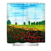 Swiss Poppies Shower Curtain