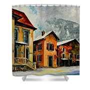 Switzerland - Town In The Alps Shower Curtain