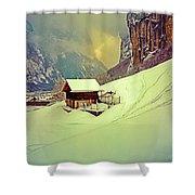 Switzerland Alps Grutschap Alpine Meadow Winter  Shower Curtain