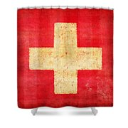 Switzerland Flag Shower Curtain by Setsiri Silapasuwanchai