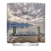 Switzerland, Montreux, Dock On The Lake. Shower Curtain