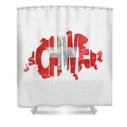 Switzerland Typographic Map Flag Shower Curtain