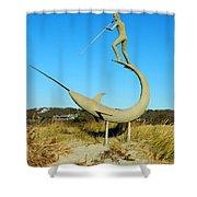 Swordfish Harpooner Shower Curtain