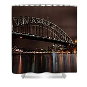 Sydney Harbor At Night With Train Shower Curtain