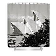 Sydney Opera House Black And White Shower Curtain