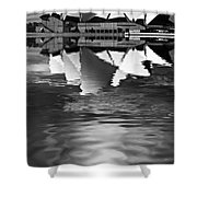 Sydney Opera House Reflection In Monochrome Shower Curtain
