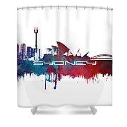 Sydney Skyline City Blue Shower Curtain
