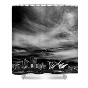 Sydney Skyline With Dramatic Sky Shower Curtain