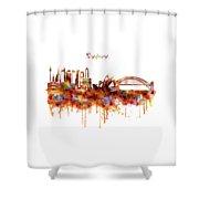 Sydney Watercolor Skyline Shower Curtain