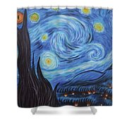 Syfy- Starry Night In Mordor Shower Curtain