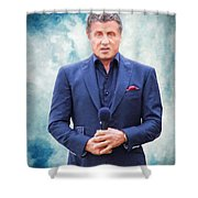 Sylvester Stallone Portrait Shower Curtain