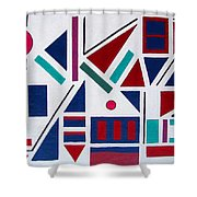 Symmetry In Blue Or Red Shower Curtain