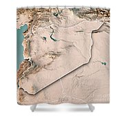 Syria Country 3d Render Topographic Map Neutral Border Shower Curtain