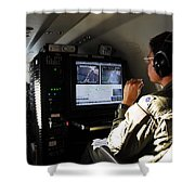 System Operator Operates A Console Shower Curtain