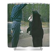 T-203503 Bear Feeding In The Old Days Shower Curtain