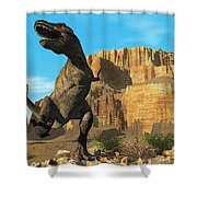 T-rex Shower Curtain by Corey Ford